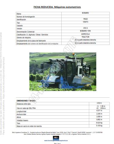 Ficha técnica máquina cosechadora